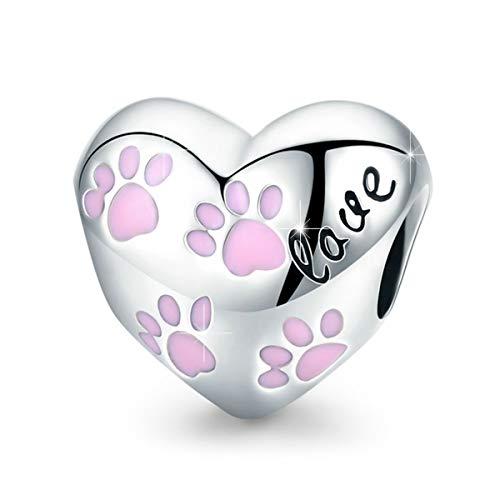 BAMOER 925 Sterling Silver Love Heart Charms for Bracelet Necklace Dog Footprint Charm