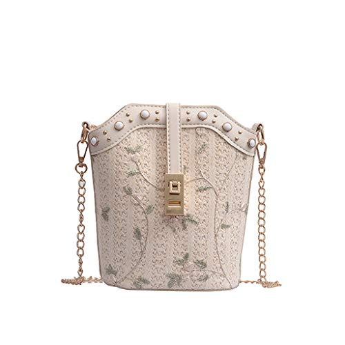♠Leaf2you Straw Bucket Bag Lace Flower Embroidered Pattern Beaded Pearl Zipper Open Messenger Bag Crossbody Chain Shoulder Beach Bags for Womens