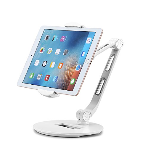 Suptek Aluminum Tablet Desk Stand for iPad, iPhone, Samsung, Asus and More 4.7-12.9 inch Devices, 360° Flexible Cell Phone Holder Mount, Good for Bed, Kitchen, Office (YF208DW)