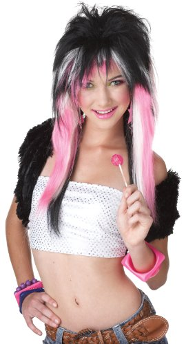 California Costumes Pink White Rave Candy Wig, Black/Pink/White, One Size