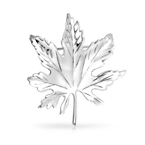 Bling Jewelry 925 Sterling Silver Canada Day Maple Leaf Pin Brooch Silver Maple Leaf Pin
