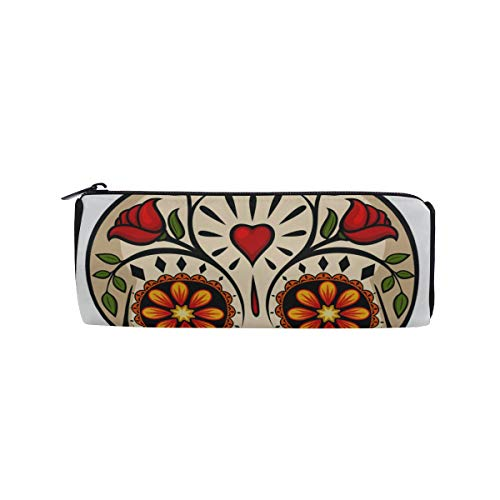 (Human Skulls with Flowers for Holiday Students Super Large Capacity Barrel Pencil Case Pen Bag Cotton Pouch Holder Makeup Cosmetic Bag for)