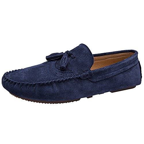 Rismart Mens Casual Comfort Slip-on In Pelle Scamosciata Penny Mocassini Scarpe Blu