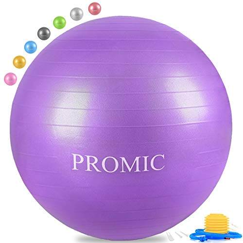 PROMIC Exercise Ball (45 cm) Children's Balance Ball with Foot Pump - Alternative Classroom Seating, Flexible School Chair, Active Classroom Desk Seating, -