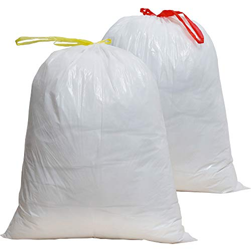100 Count 8 Gallon Trash Bags Drawstring, Unscented Premium Quality Large Garbage Bags 20in X 24in (5Rolls Milk White) ()