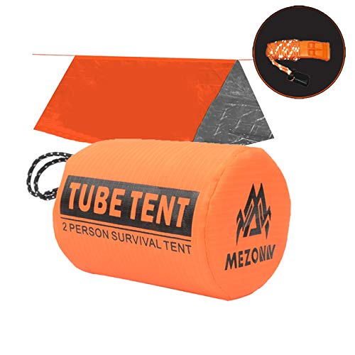 Reflective Tube Tent - Mezonn PE Emergency Shelter Survival Tent - 2-4 Person Mylar Emergency Tube Tent, Includes Whistle with Reflective Lanyard, All Weather Protection for Outdoor, First Aid Kit, Hiking, Camping