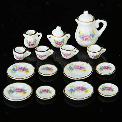 (NATFUR 1:12 Dollhouse 15pcs Dining Ware Porcelain Tea Coffee Set w/Flower Pattern)