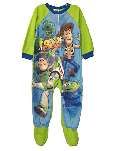 TOY STORY Woody, Buzz Boy's Size 4T Fleece Footed Fleece Blanket Pajama Sleeper