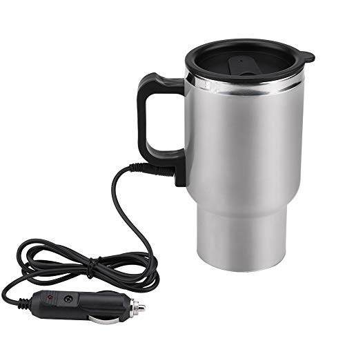 450ml 12V Stainless Steel Electric Car Cup Travel Heating Cup Electric Thermos Plug Kettles Boiling Car Coffee Mug Heater with Adapter