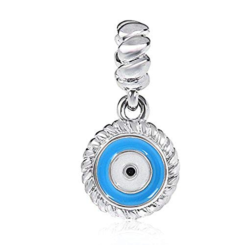 (Blue Watchful Eye Charm 925 Sterling Silver Beads fit for DIY Charms Bracelets)