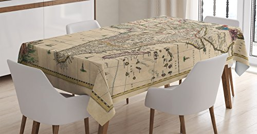 Ambesonne Antique Decor Tablecloth, Old Map of Africa Continent Ancient Historic Borders Rustic Manuscript Geography, Dining Room Kitchen Rectangular Table Cover, 60 X 90 inches