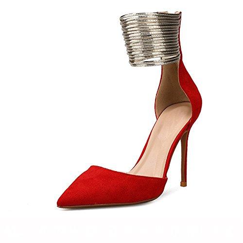 cabeza 37 sandalias NHGY Sandalias gamuza tacones cremallera pie de de tacones moda con delgada anillos alargada vTZqXw
