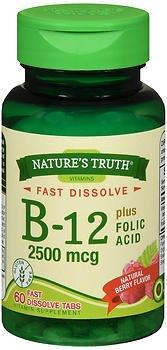 Nature's Truth Vitamin B-12 2500 mcg plus Folic Acid Fast Dissolve Tabs Natural Berry Flavor – 60 ct For Sale