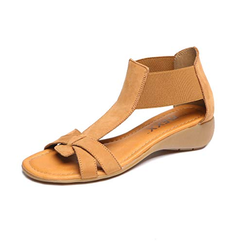 (The FLEXX Footwear Women's Band Together Cognac Nubuck Sandal Size 5.5)