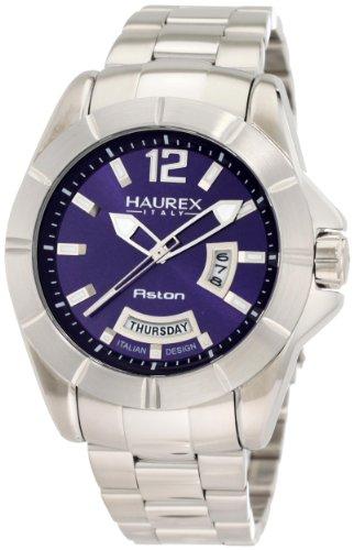 Haurex Italy Men's 7A366UB1 Aston Blue Dial Day and Date Steel Bracelet Sport Watch - Stainless Steel Aston Watch