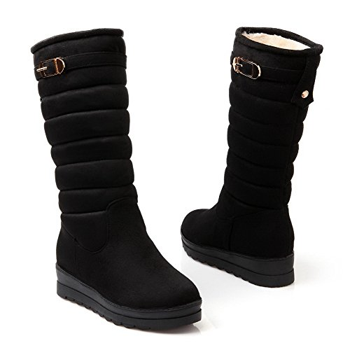 Allhqfashion Mujeres Imitated Suede Mid-top Solid Pull-on Kitten-heels Botas Negro