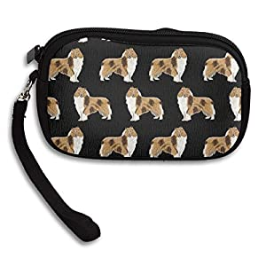 Coin Purse Cash Wallet Wristlet Clutch Cosmetic Bag Cellphone Case Card Holder with Strap Zipper Handbag Unisex Rough Collie Dog 8