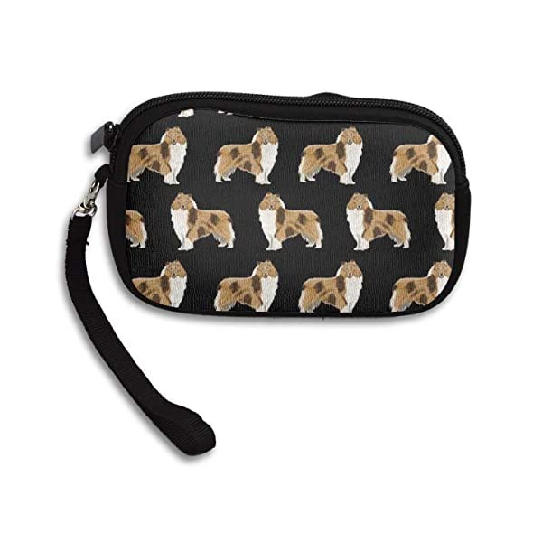 Coin Purse Cash Wallet Wristlet Clutch Cosmetic Bag Cellphone Case Card Holder with Strap Zipper Handbag Unisex Rough Collie Dog 1