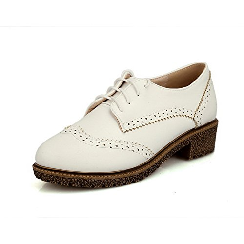 AllhqFashion Womens Closed Round Toe Lace Up PU Solid Low Heels Pumps-Shoes White L9DyBeTjQW