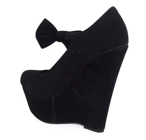 Loudlook Neue Frauen Damen Mary Jane Bow Wild Plattform-Keil Schuhe Gr?sse 3-8 Black