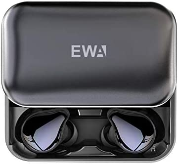 EWA T200 Bluetooth 5.0 Wireless Earbuds with Memory Foam Tips 2000mAh Slider Aluminum Charging Case, IP67 TWS Waterproof Headphones, Studio Level Sound Earphone, in-Ear Built-in Mic Headset for Sport
