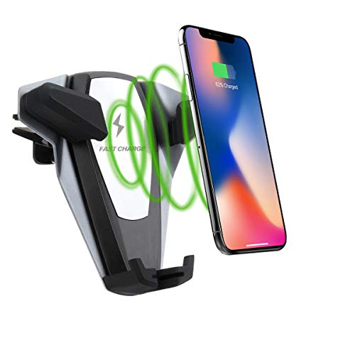 Wireless Car Charger Mount 10W 7.5W Qi Fast Charging Car Mount Windshield Dashboard Air Vent Phone Holder Compatible with iPhone Xs Max XR 8, Samsung S10 S9 S8 Note 9 (Grey)
