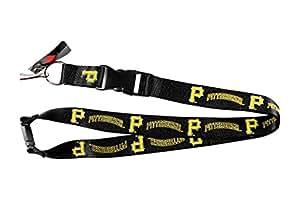 Pittsburg Pirates Sports Team Logo Clip Lanyard Keychain Id Holder Ticket Black