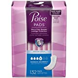 Poise Incontinence Pads, Moderate Absorbency, Regular, 132 count Disposable Absorbent Pads