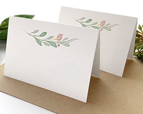 20 Pack - Floral White Wedding Place Cards - Blank Pink and Green Wedding Escort Cards - Pre-Scored Shipped Flat You Fold - Pack of 20