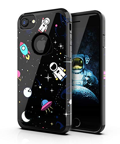 PBRO iPhone 6/6s Case,iPhone 7/8 Case,Cute Astronaut Case Dual Layer Soft Silicone & Hard Back Cover Heavy Duty PC+TPU Protective Anti-Scratch Shockproof Case for Apple iPhone 6/6S/7/8 Space/Black