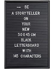 Relaxdays letterbord, met 145 letters, cijfers, speciale tekens om te duwen, 45 x 30 cm, ophangen, van kunststof, zwart
