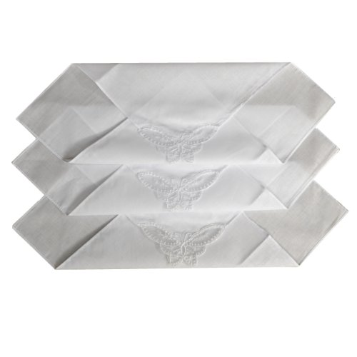 Butterfly Handkerchief - ETHO 12 Pack Womens Plain White Handkerchiefs, Butterfly Lace Corner