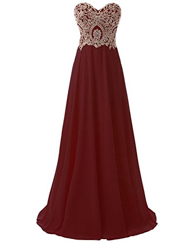 Sarahbridal Women's Long Chiffon A-line Beading Bridesmaid Dresses Prom Gowns