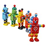 YEEMAX Better Quality Classic Wooden Robot Toy, Robot Toddler Pretend Play, Robot Buddies Team, Birthday Party Favors ( Various 3 PCS )