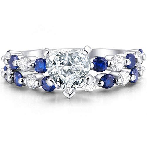 AONEW Women Wedding Band Engagement Ring Bridal Sets White Gold 2pcs Heart Cz Size 6-10 Size 7 -