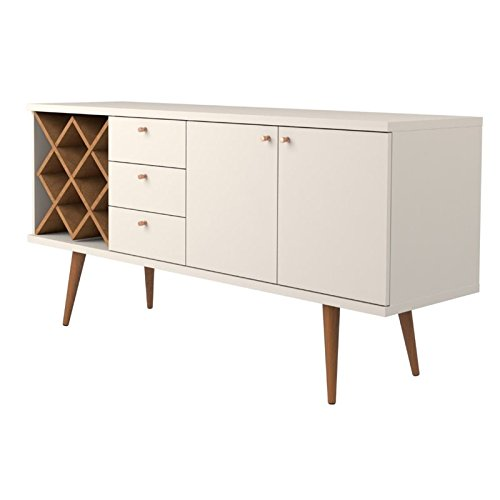Manhattan Comfort 1010452 Utopia Sideboard Buffet Stand, Off Off White and Maple Cream