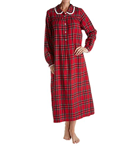 Flannel Plaid Gown - Lanz of Salzburg Long Sleeve Flannel Gown with Peter Pan Collar (5616828) S/Red Multi Plaid