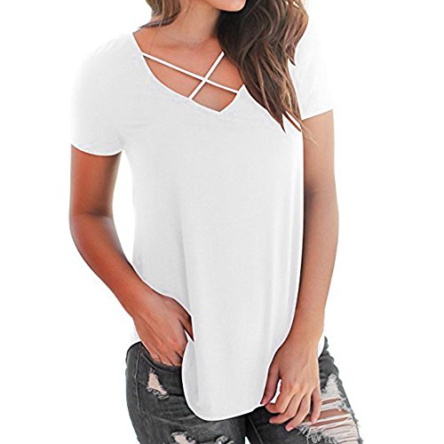 ◐OFEFAN◑ Women's Casual Short Sleeve Solid Criss Cross Front V-Neck T-Shirt Tops White