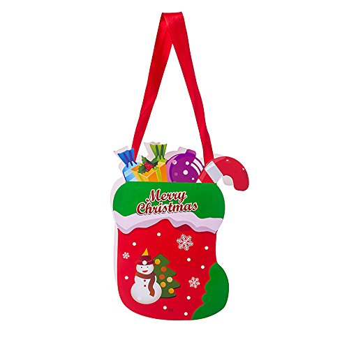 Chezaa Merry Christmas Santa Claus Candy Snack Packet Bag Storage Gift Bags, Xmas Ornaments Decorative Sack Card Garden Home Decor for Kids Favors and Decorating (E)