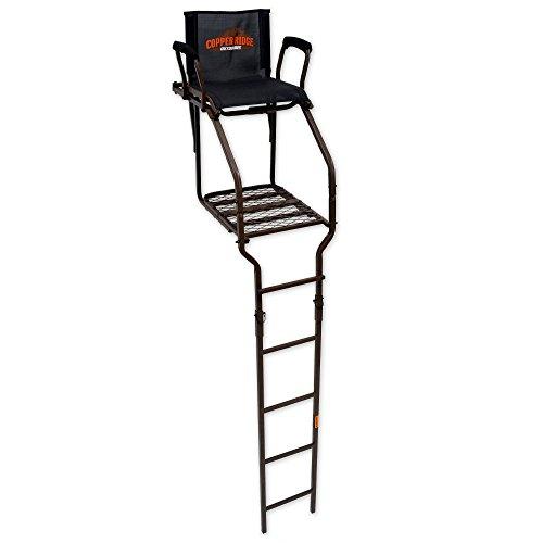 16' Ladder Treestand - Copper Ridge Outdoors Ladder Stand - Ultra Comfort 18 ft Archer's Ladder, 21 L x 17.75 in W Foot Platform, 300lb Weight Capacity, Flip Up Mesh Seat, Ladder Deer Hunting Treestand
