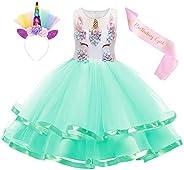 Kantenia Girls Unicorn Dress Princess Costume Tutu Flower Halloween Cosplay Birthday Party Dress up Clothes&am