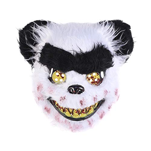 Amosfun Scary Bloody Panda Mask Costume Prop Mask Dressing up Accessory for Halloween Masquerade Cosply Costume Party