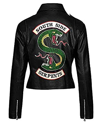 dc9522eb Amazon.com: The Jacket Makers Girls Riverdale Southside Serpents Biker Gang  Black Leather Jacket for Girls: Clothing