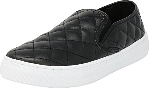 Cambridge Select Women's Closed Round Toe Quilted Stretch Slip-On Fashion Sneaker,8 B(M) US,Black - Quilt Reese