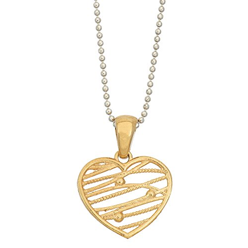 - 14K Gold or 14K Rose Gold 925 Sterling Silver Abstract Heart Pendant Necklace, 16