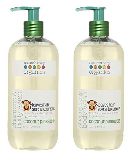 Nature's Baby Organics Shampoo & Body Wash, Coconut Pineapple, 16 oz. (Pack of 2)
