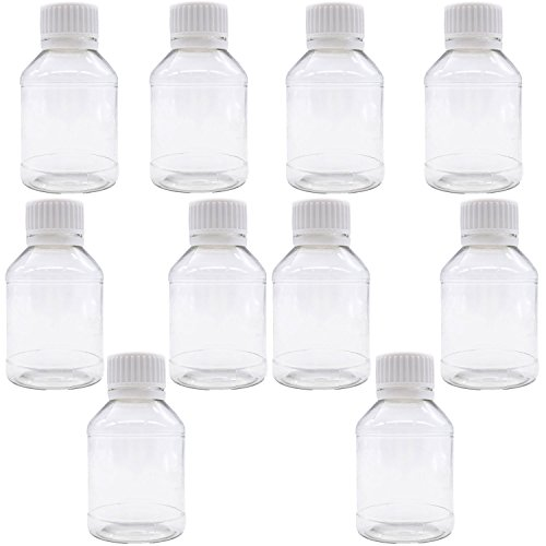 TrendBox Pack of 10 - Clear Empty PET Mini Storage 100ml/100g/100cc Bottles Hard Plastic Durable Turn Screw Cover Cap Round Filling Liquid Rhinestones Water Container