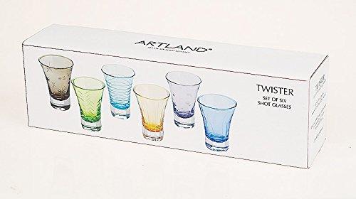 Artland 65216A Twister Color Shot Glass, Set of 6, Multicolored