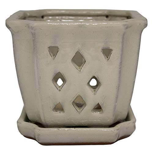 TRENDSPOT 5IN Orchid Pot Square, Crackle White Indoor Planter, 5 inch,