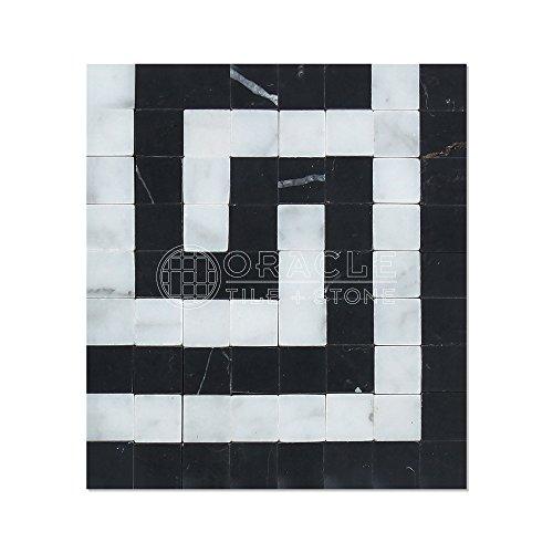 Greek Key Molding - Carrara White Italian (Bianco Carrara) Marble Greek Key Border Corner (with Black Marble, Honed)